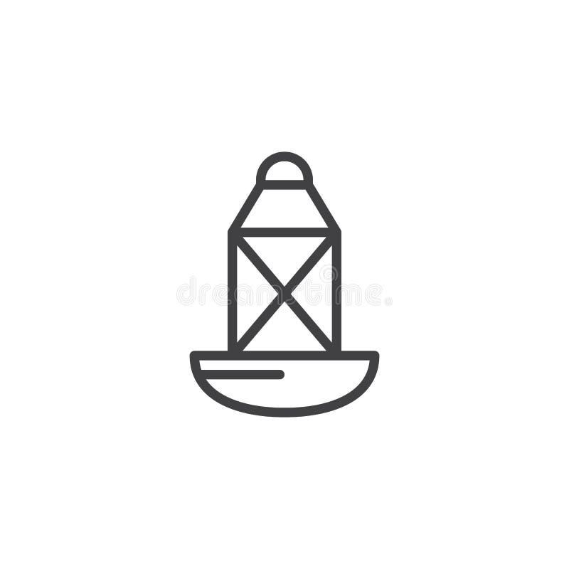 Icono direccional del esquema de la boya del mar ilustración del vector