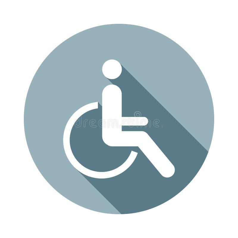Icono discapacitado de la desventaja en estilo largo plano de la sombra Uno del icono de la colección del web se puede utilizar p ilustración del vector