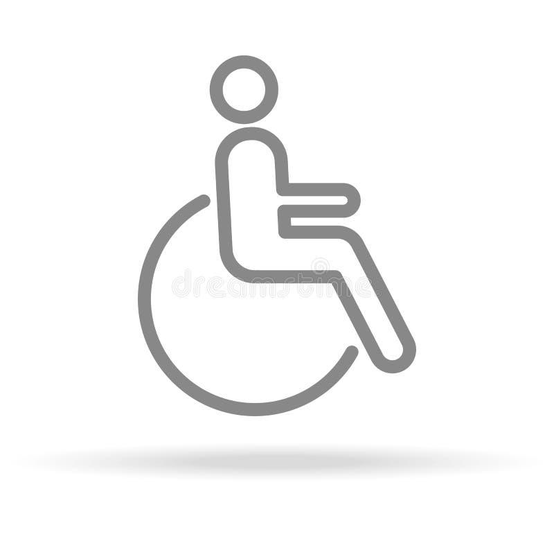 Icono discapacitado en la línea estilo fina de moda aislado en el fondo blanco libre illustration