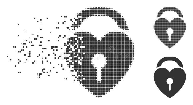 Icono disipado del tono medio del pixel de la cerradura del corazón del amor stock de ilustración