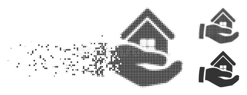 Icono disperso mano del tono medio del pixel de la oferta de los bienes raices stock de ilustración