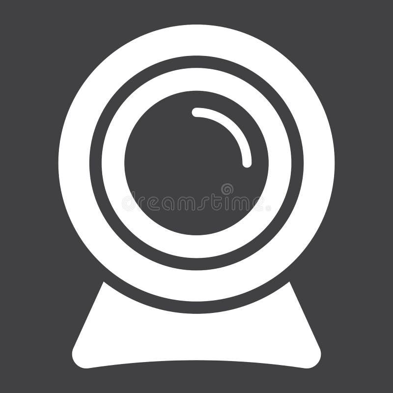 Icono, dispositivo y cámara sólidos del webcam stock de ilustración