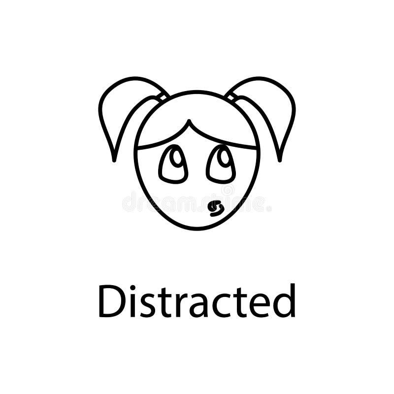icono distraído de la cara de la muchacha Elemento de las emociones para el ejemplo móvil de los apps del concepto y del web Líne stock de ilustración