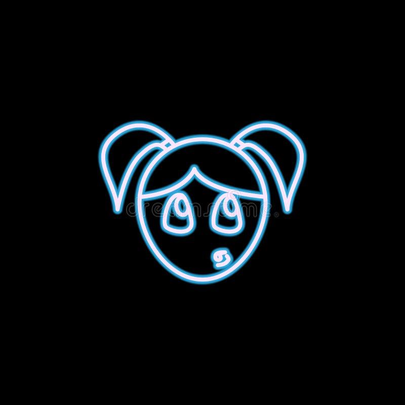 icono distraído de la cara de la muchacha en el estilo de neón Uno del icono de la colección de las emociones se puede utilizar p libre illustration