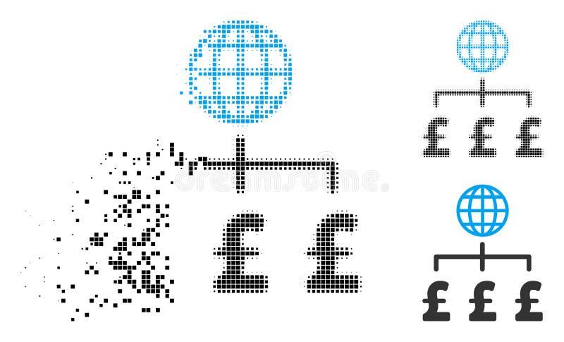 Icono disuelto de Dot Halftone Global Pound Payments ilustración del vector