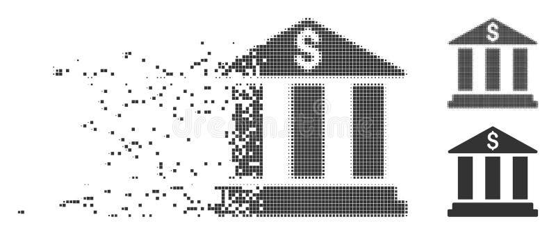 Icono disuelto del pixel del edificio de banco stock de ilustración