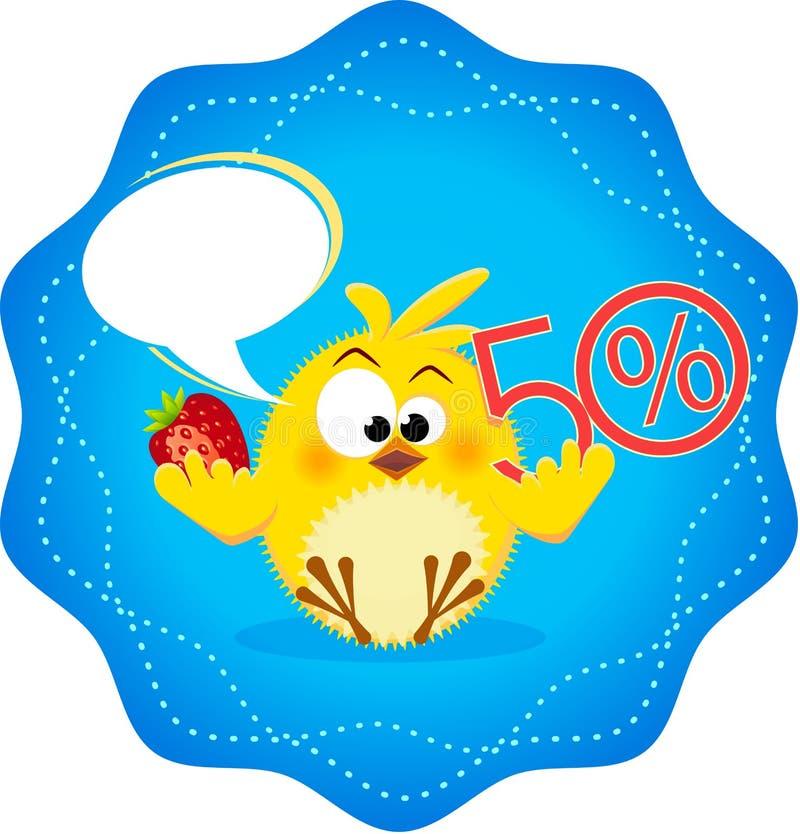 Icono divertido con el restaurante 5 de los pollos stock de ilustración