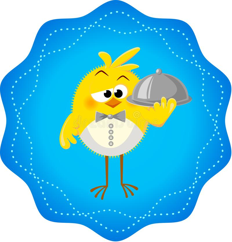 Icono divertido con el restaurante de los pollos ilustración del vector