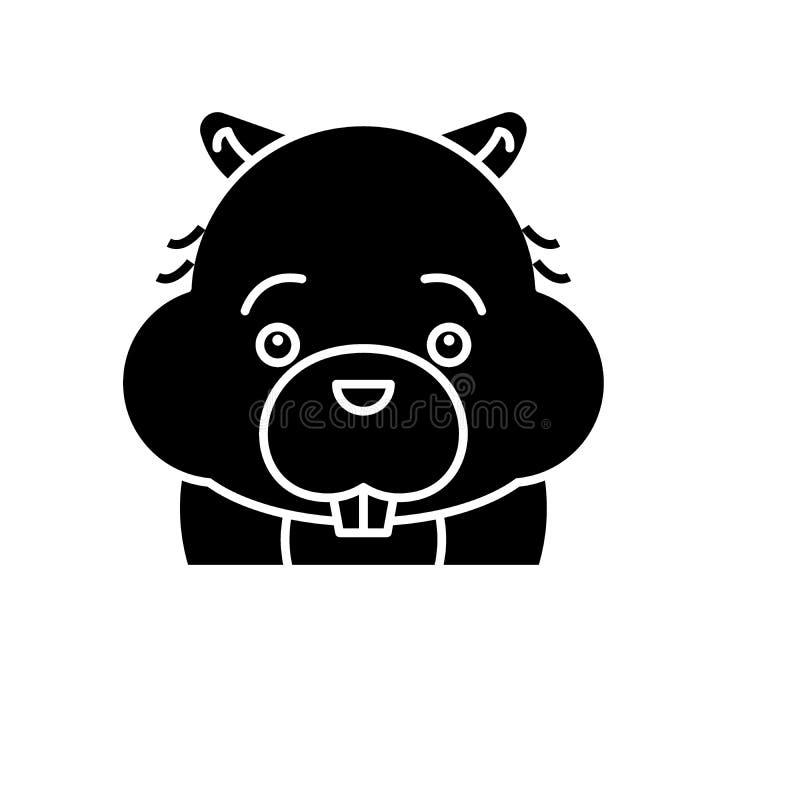 Icono divertido del negro del castor, muestra del vector en fondo aislado Símbolo divertido del concepto del castor, ejemplo stock de ilustración