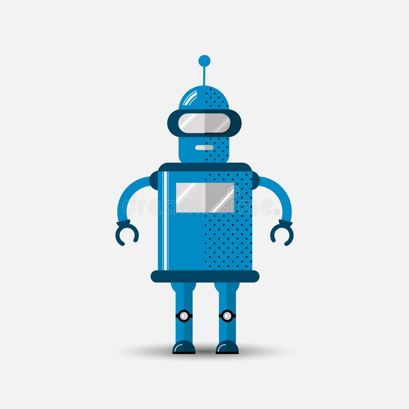 Icono divertido del robot del vector en estilo plano aislado en fondo gris Ejemplo plano lindo del vector del icono de Chatbot libre illustration