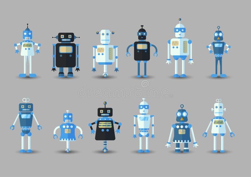 Icono divertido del sistema del robot del vector del vintage retro en estilo plano aislado en fondo gris Ejemplo del vintage del  libre illustration