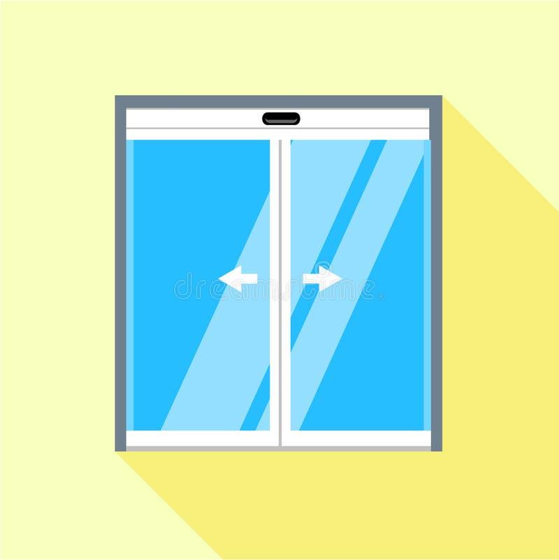Icono doble de las puertas de vidrio de desplazamiento, estilo plano ilustración del vector