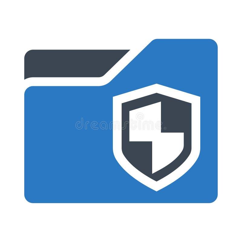 Icono doble del color de los glyphs de la protección de la carpeta stock de ilustración