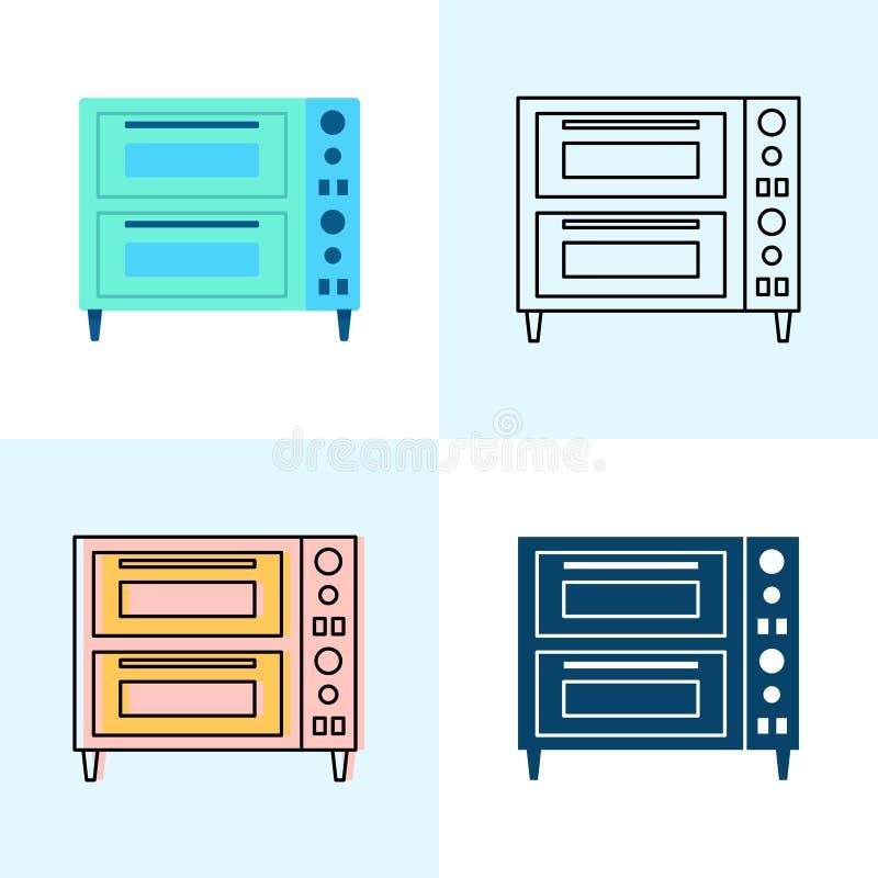 Icono doble del horno de la pizza de la cubierta fijado en el plano y la línea estilos stock de ilustración