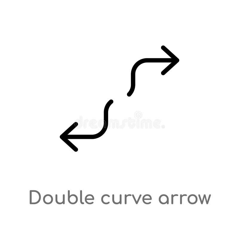 icono doble del vector de la flecha de la curva del esquema l?nea simple negra aislada ejemplo del elemento del concepto de las f ilustración del vector