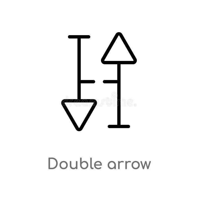 icono doble del vector de la flecha del esquema línea simple negra aislada ejemplo del elemento del concepto de las flechas Movim ilustración del vector