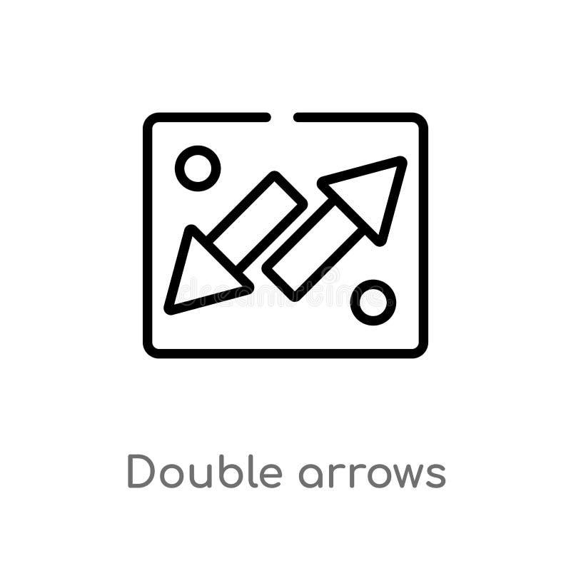icono doble del vector de las flechas del esquema l?nea simple negra aislada ejemplo del elemento del concepto de la interfaz de  ilustración del vector