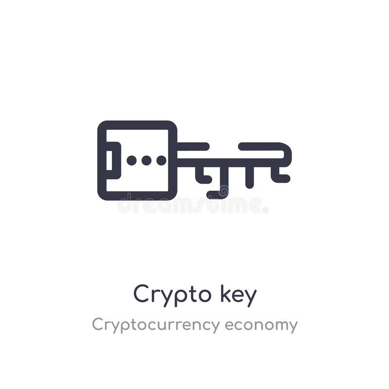 icono dominante crypto del esquema l?nea aislada ejemplo del vector de la colecci?n de la econom?a del cryptocurrency llave crypt ilustración del vector