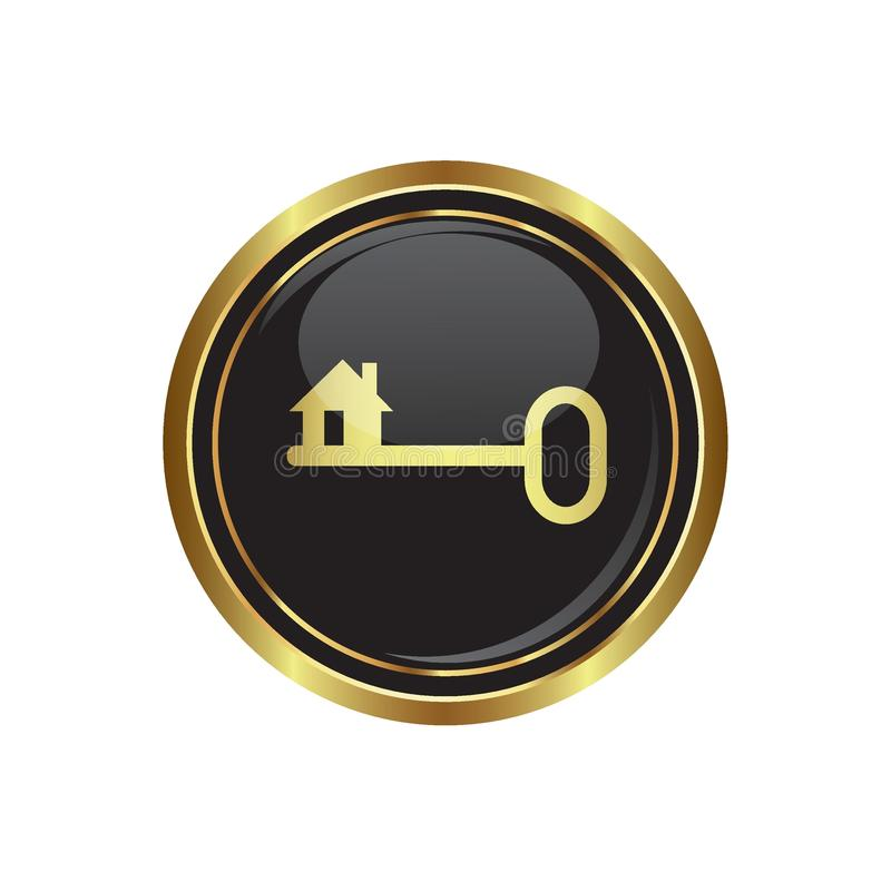 Icono dominante en el negro con el botón redondo del oro stock de ilustración
