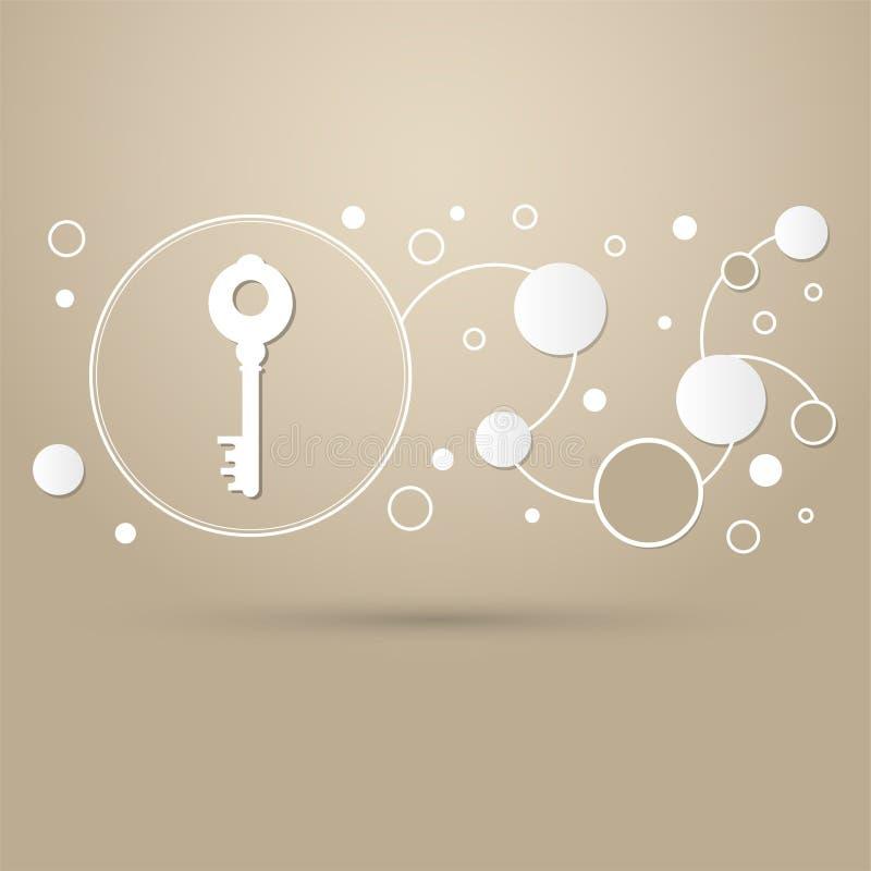 Icono dominante en un fondo marrón con estilo elegante y el diseño moderno infographic stock de ilustración