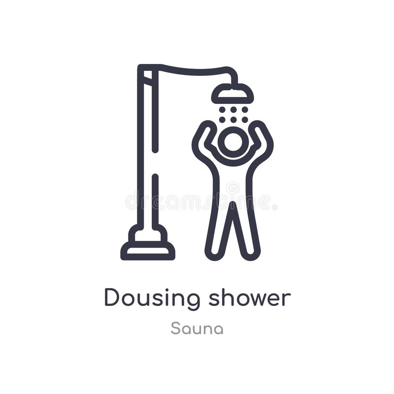 icono dousing del esquema de la ducha l?nea aislada ejemplo del vector de la colecci?n de la sauna icono dousing de la ducha del  libre illustration