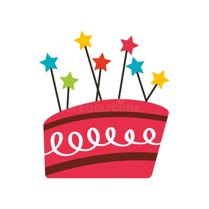 icono dulce y delicioso de la torta de cumpleaños stock de ilustración