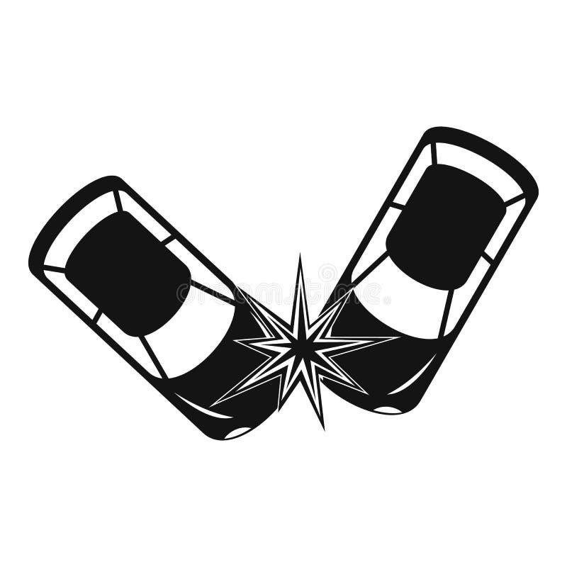 Icono duro de la colisión, estilo simple ilustración del vector