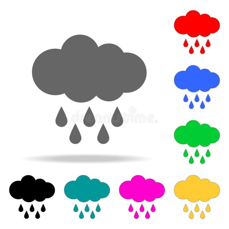 Icono duro de la lluvia Elementos en los iconos coloreados multi para los apps móviles del concepto y del web Iconos para el dise libre illustration