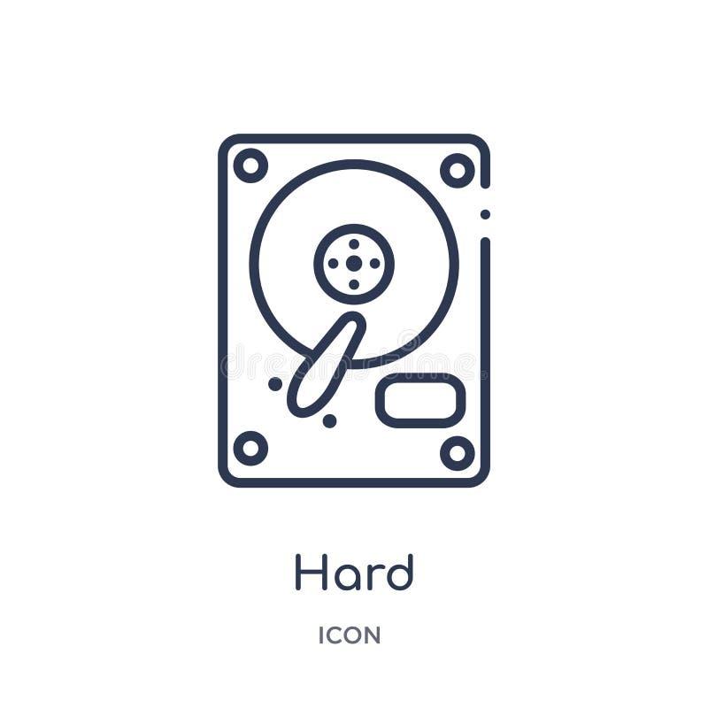 Icono duro linear de la colección del esquema de los dispositivos electrónicos Línea fina vector duro aislado en el fondo blanco  stock de ilustración