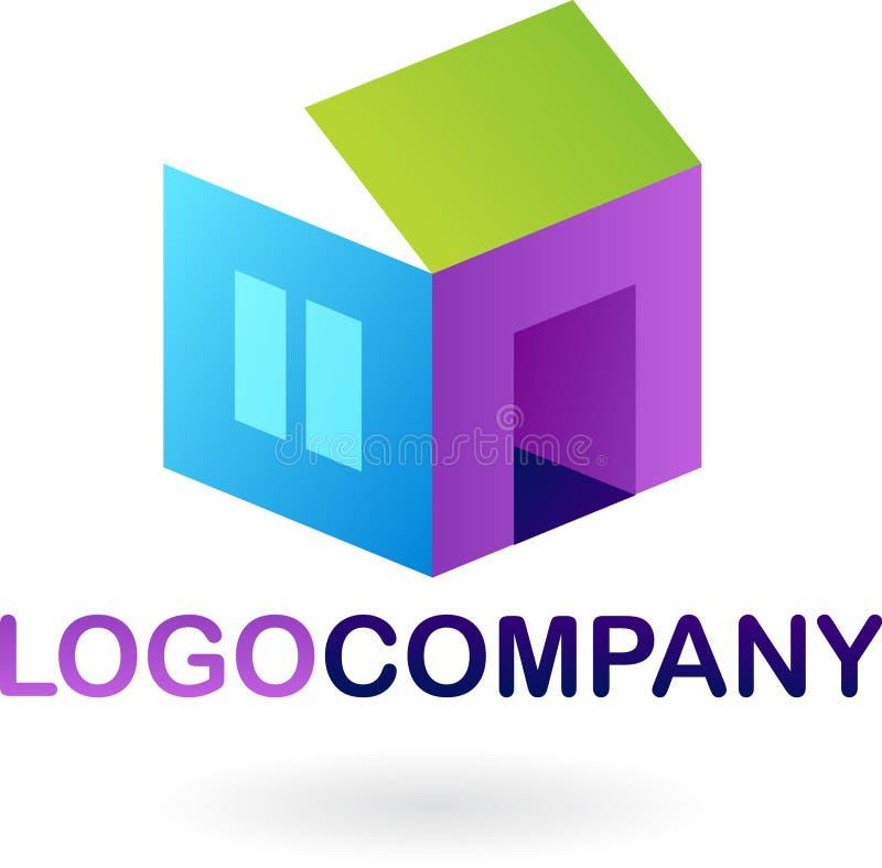 Icono e insignia de las propiedades inmobiliarias stock de ilustración