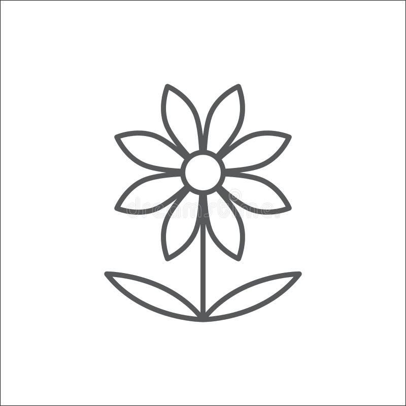 Icono editable del esquema de la flor de la manzanilla - símbolo perfecto del pixel margarita-como de la planta en la línea fina  stock de ilustración