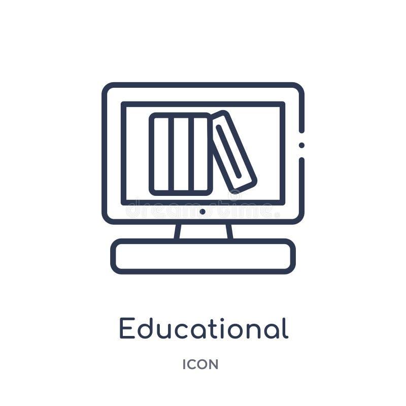 Icono educativo linear de la plataforma de la colección del esquema de la educación Línea fina vector educativo de la plataforma  libre illustration