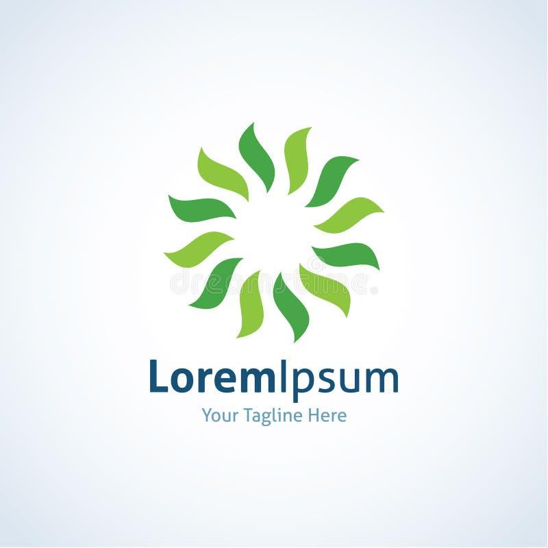Icono eficiente del logotipo del poder de Sun de la energía del remolino verde libre illustration
