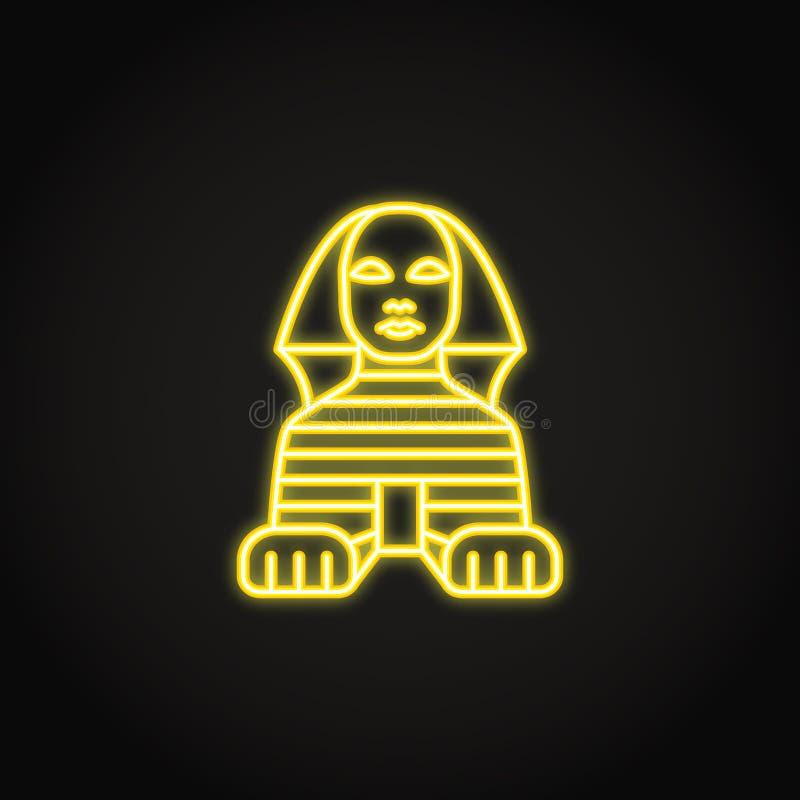 Icono egipcio de la esfinge en estilo de ne?n que brilla intensamente stock de ilustración