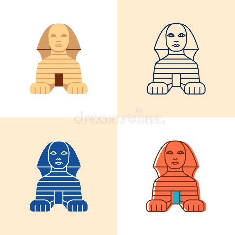 Icono egipcio de la esfinge fijado en el plano y la línea estilo ilustración del vector