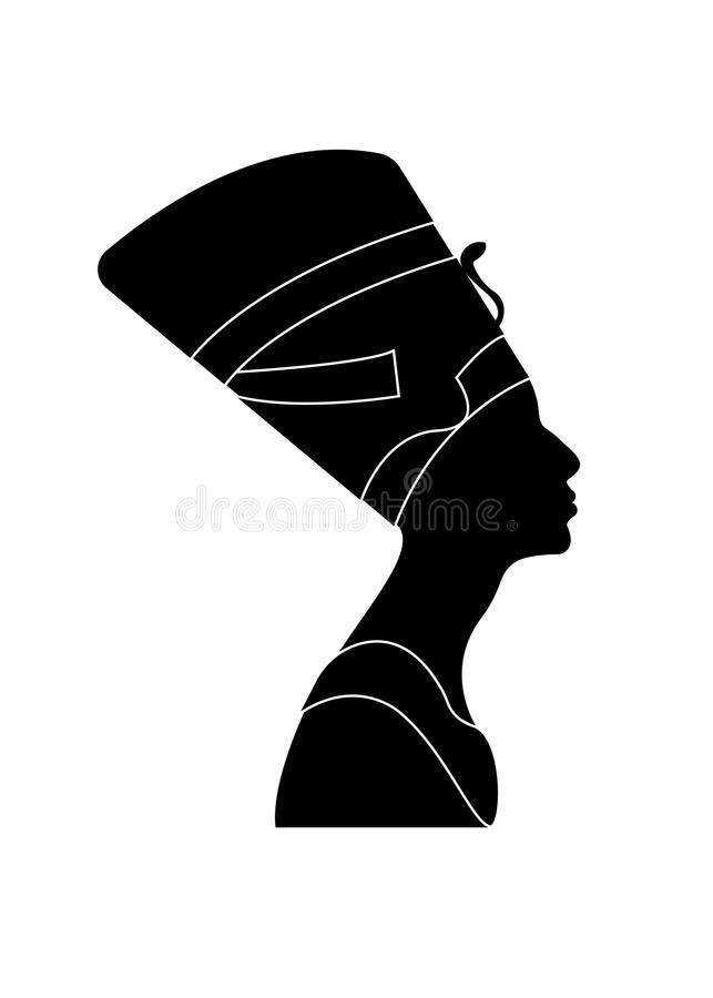 Icono egipcio de la silueta Reina Nefertiti Perfil del retrato del vector aislado stock de ilustración