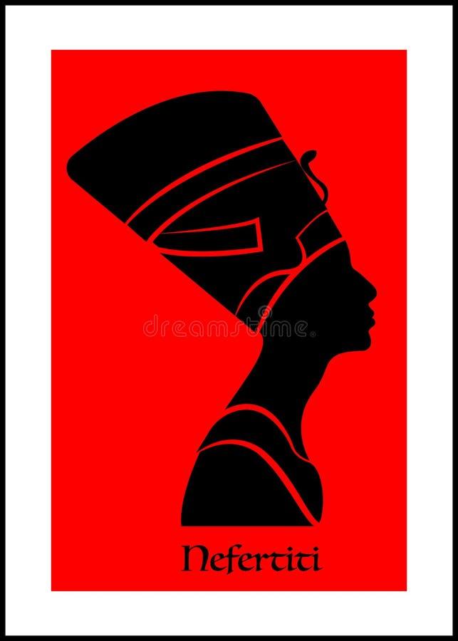 Icono egipcio de la silueta Reina Nefertiti Perfil del retrato del vector aislado ilustración del vector