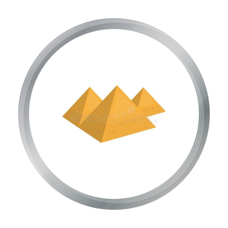 Icono egipcio de las pirámides en estilo de la historieta aislado en el fondo blanco Ejemplo del vector de la acción del símbolo  stock de ilustración