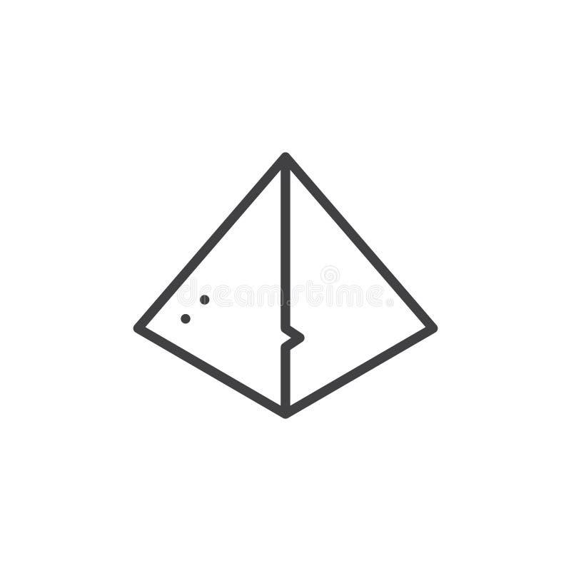 Icono egipcio del esquema de la pirámide stock de ilustración