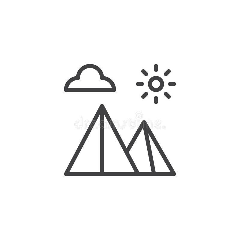 Icono egipcio del esquema del paisaje de las pirámides stock de ilustración