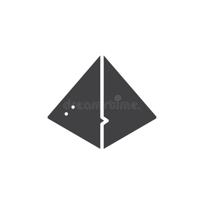 Icono egipcio del vector de la pirámide stock de ilustración