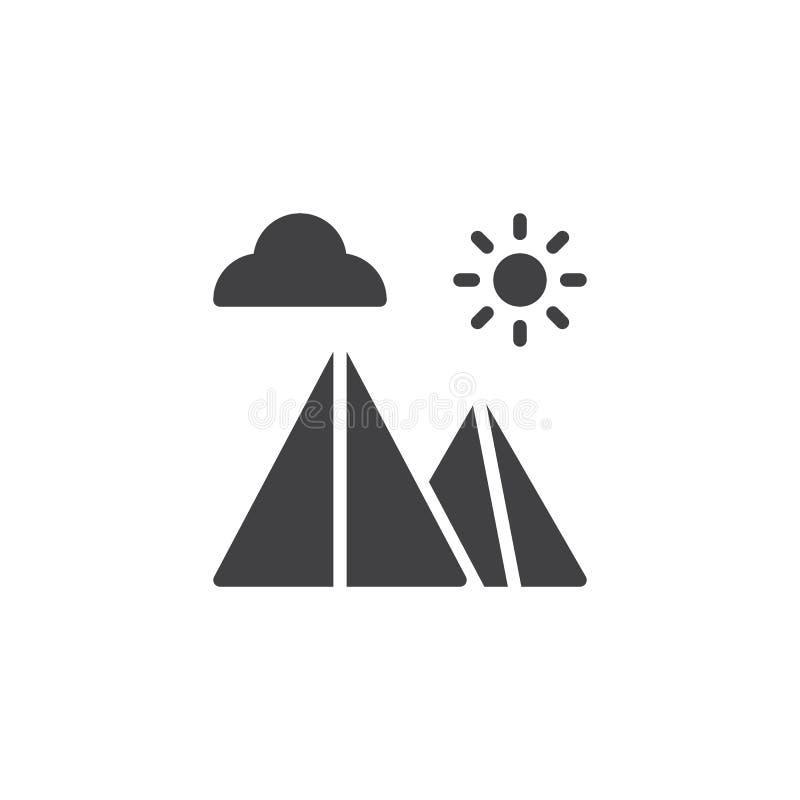 Icono egipcio del vector del paisaje de las pirámides libre illustration