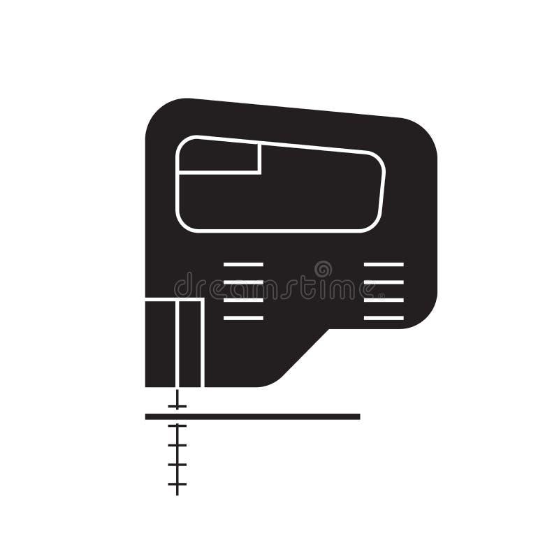 Icono eléctrico del concepto del vector del negro del rompecabezas Ejemplo plano del rompecabezas eléctrico, muestra libre illustration