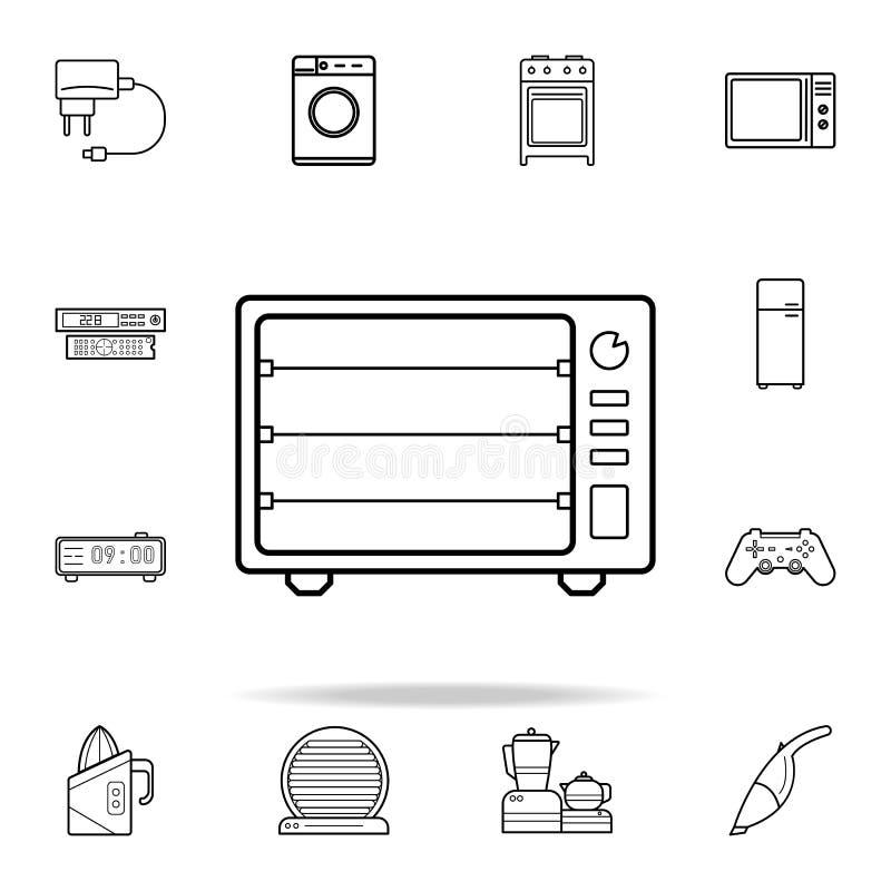 Icono eléctrico del horno Sistema universal de los iconos de los dispositivos para el web y el móvil stock de ilustración