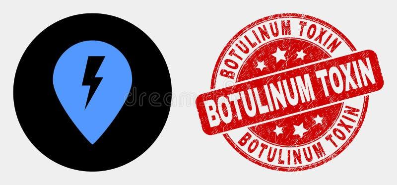 Icono eléctrico del marcador del mapa del vector y sello Botulinum de la toxina del Grunge ilustración del vector