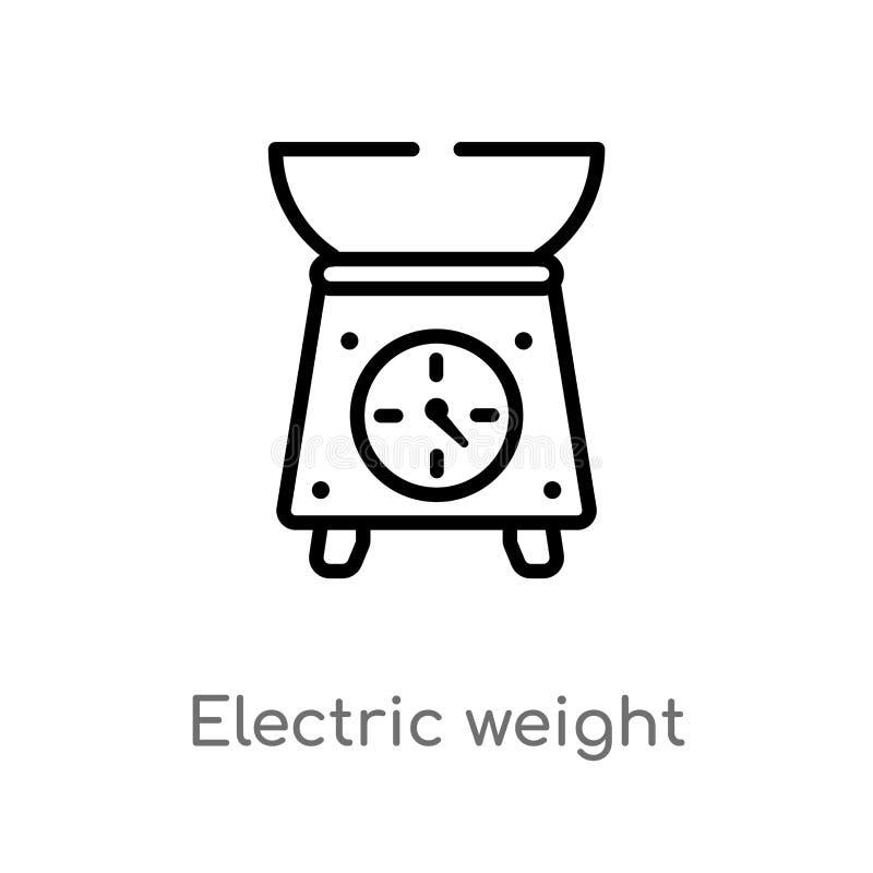 icono eléctrico del vector de la escala del peso del esquema línea simple negra aislada ejemplo del elemento del concepto de los  stock de ilustración