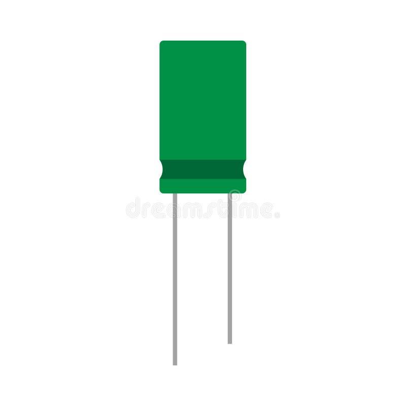 Icono eléctrico del vector del elemento de circuito de la red del primer del verde del condensador Sistema del microchip de la re ilustración del vector