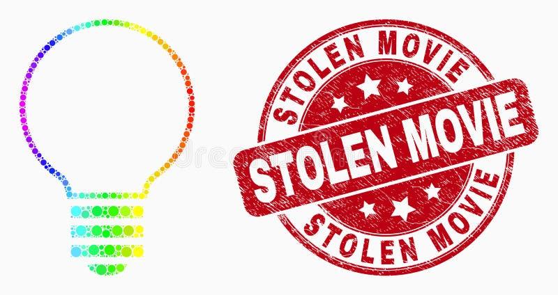Icono eléctrico espectral del bulbo de Pixelated del vector y sello robado Grunge del sello de la película libre illustration