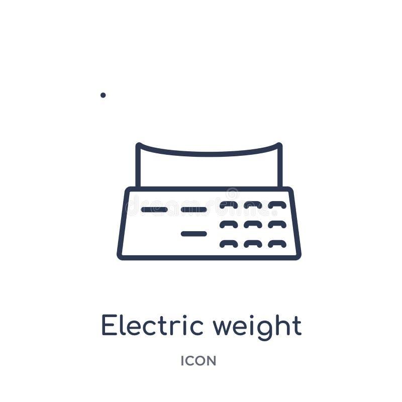Icono eléctrico linear de la escala del peso de la colección del esquema de los bistros y del restaurante La línea fina vector el stock de ilustración
