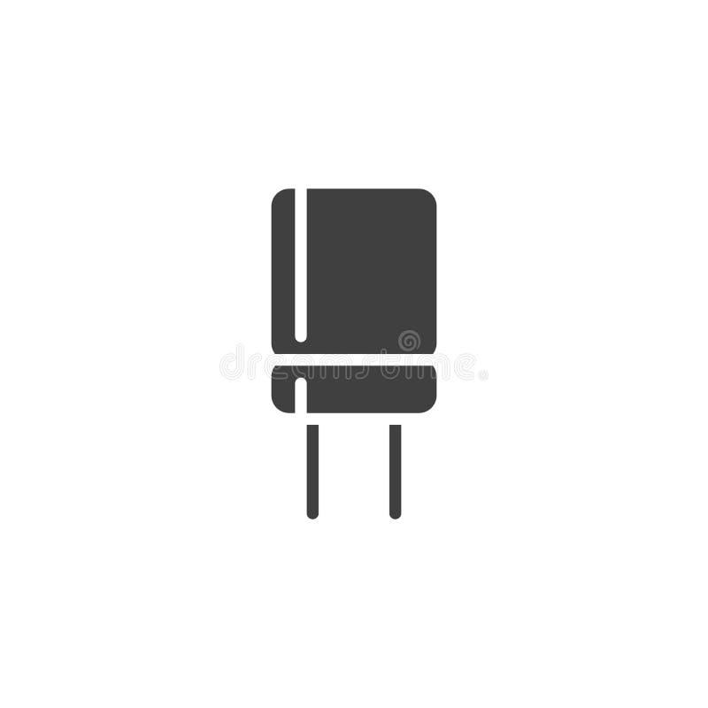 Icono electrónico del vector del condensador stock de ilustración